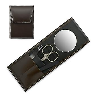 Mont Bleu 3-delige manicure set in een premium Umber bruin lederen etoffer met spiegel en kristal nagelvijl - zwart