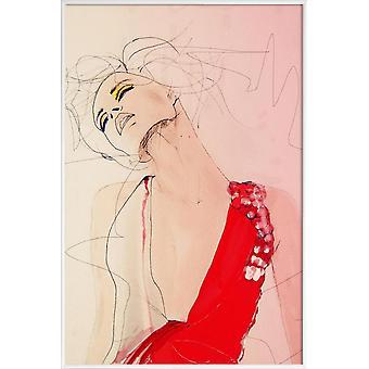 Stampa JUNIQE - Atmosfera - Poster illustrazione moda in crema bianca & rossa