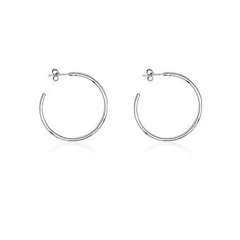 Boho betty julin 34mm sterling silver plain hoop earrings