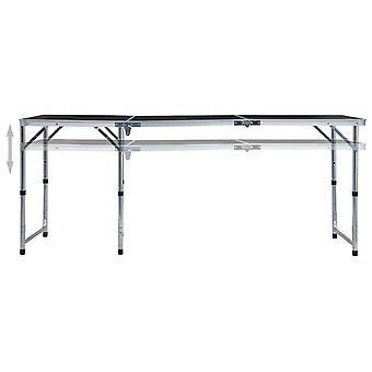 vidaXL Opvouwbare Kampeertafel Grijs Aluminium 180 x 60 cm