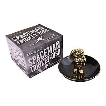 Musta & kulta keraaminen avaruusmies Trinket-astia