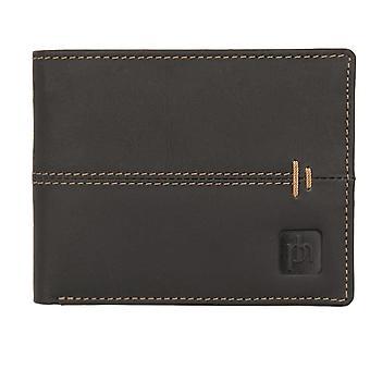 Primehide Men's Designer Flip Up Wallet with Orange Stitch Detail