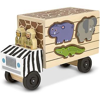 Melissa & Doug Safari Djurräddning Lastbil Trä