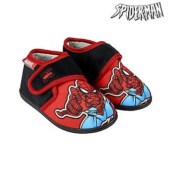 House Slippers Spiderman Red Black