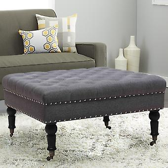 85CM Linen Square Buttoned Footstool With 4 Casters