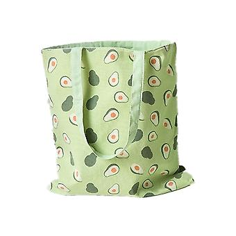 2 Pcs New Millet Wheat Fabric Double-sided Dual-use Shoulder Bags Cotton Linen Pocket Handbag