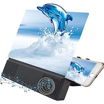 3d Hd Mobile Phone Screen Magnifier Amplifier With Speaker, 12 Inch, Foldable Holder Stand (with