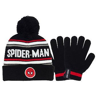 Officiële Kids Marvel Comics Spiderman Face Beanie & Handschoenen Set Jongens Meisjes