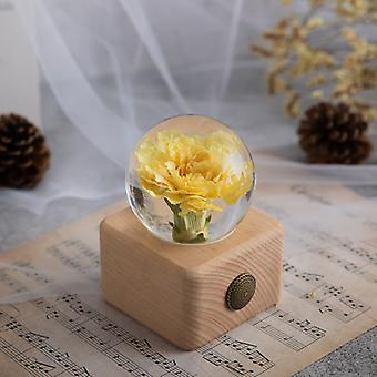 Flower Crystal Glass Ball With Stand Valentine Day For Girlfriend Women Wife Christmas For Birthday