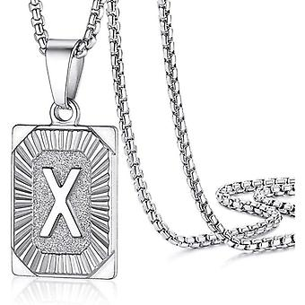 """925 Silve Initial Alphabate """"X""""Letter Halsband - 20 tum"""