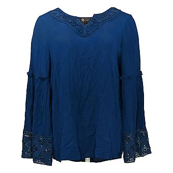 DG2 by Diane Gilman Dames Top Flared Sleeve Blouse Blauw 655289