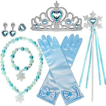 Kids 10 Pcs Frozen Elsa Girls Inspired Crown Magic Wand Gloves Accessories Set