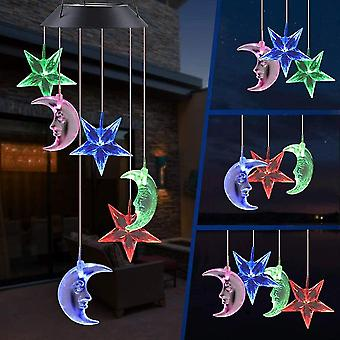 Lanbena Moon Led Solar Wind Chimes, Memorial Hanging Wind Bell For Home Garden Decoration, Automatic Light Changing Color