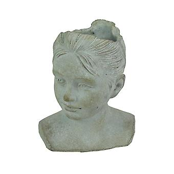 Distressed Cement Young Girl Child Bust Indoor / Outdoor Head Planter