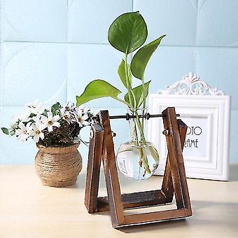 Nordisk stil miljövänligt glas och trävasplanter terrarium(A)
