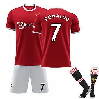 Cristiano Ronaldo #7 Cr7 Jersey Home 2021-2022 Szezon férfi labdarúgó pólók Jersey Set Üdvözöljük Ronaldo Vissza a Manchester United