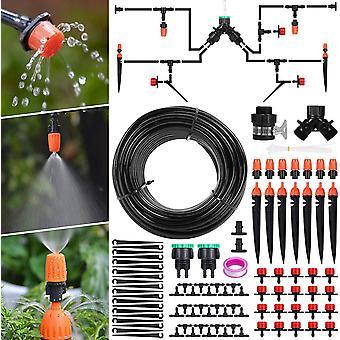 Bevattningssystem trädgård, mikrobevattning dropp agrave; Dropp automatisk bevattning kit dropp bevattning agrave; Automatisk trädgårdsdroppbevattning för Lan