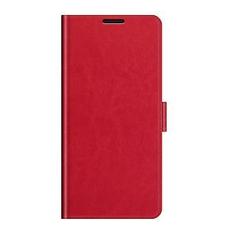 Etui pour Xiaomi Redmi Note 10 4g Premium Cuir Flip Case Cover Avec Fermeture Magnétique Rouge