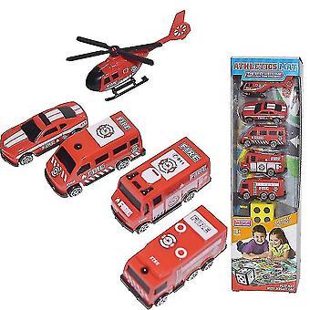 6db Mini Fire Truck Autó Játék Gyermek oktatási játék piros