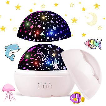 Star Projector Lamp, Led 360rotating With Sky And Ocean Light