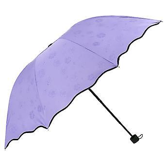 Umbrella Sun Umbrella Vinyl Anti-ultraviolet Sunshade Three-fold Umbrella,rose Red