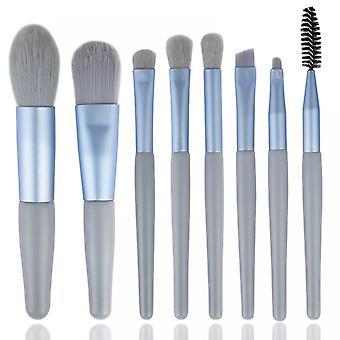 Mini 8 Makeup Brush Set Eyeshadow Eyelash Brush Blush Powder Makeup Brush Beauty Tool(blue)