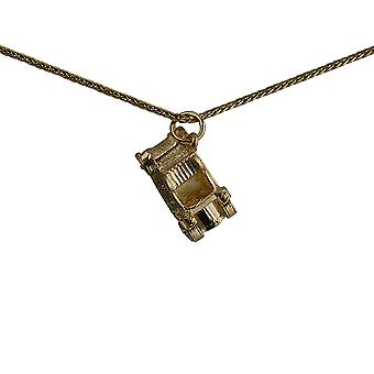 9ct Gold 10x20mm Vintage Car Pendant with a spiga Chain 24 inches