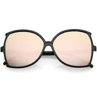 Women's Oversize Butterfly Sunglasses Slim Arms Colored Mirror Lens 61mm