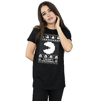 Pacman Women's Christmas Fair Isle Boyfriend Fit T-Shirt