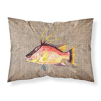 Hog Snapper on Faux Burlap Fabric Standard Pillowcase