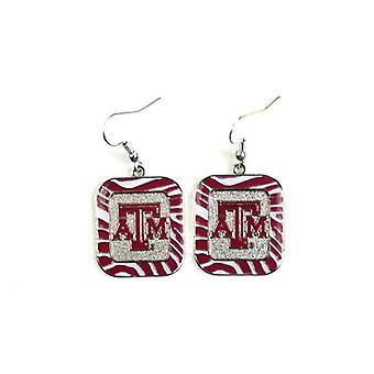 Texas A & M Aggies NCAA Zebra Style Dangle Earrings