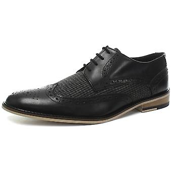 Jipes 4 olho Wing Cap Gibson preto Mens Brogue sapatos