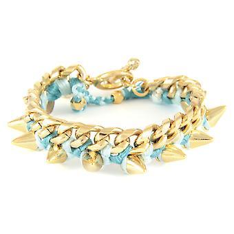 Ettika - armband in geel goud Spikes en katoen gevlochten ribbons blauw ijs