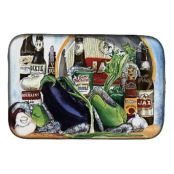 Carolines Treasures  1007DDM Eggplant and New Orleans Beers  Dish Drying Mat