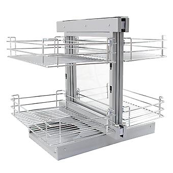 Magic Corner Kitchen Baskets Left Hand Pull Out Metal Storage 80-90cm Cabinet
