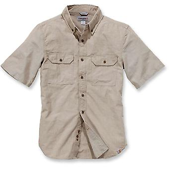 Carhartt Mens Short Sleeve Washed Fort Solid Cotton Button Shirt