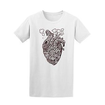Mechanisches Herz Steam Punk-T-Shirt Herren-Bild von Shutterstock