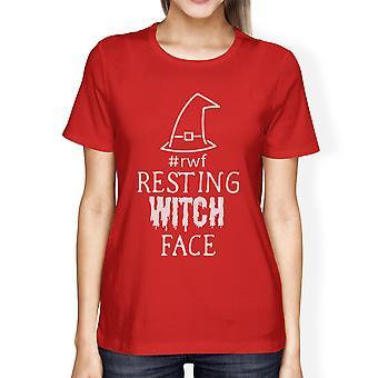Hexe Gesicht Halloween Kostüm Shirt für Frauen ruhen rote Baumwolle