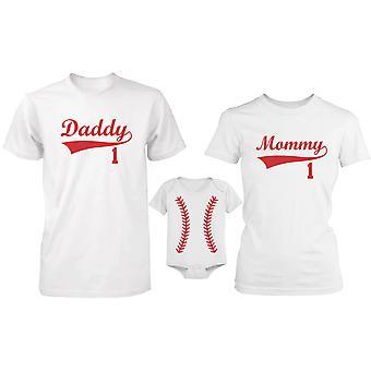 Familia familia béisbol juego camisas y mono