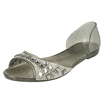 Ladies Spot On Open Toe Flat Ballerina With Jewelled Detailing