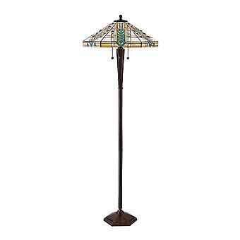 Interiör 1900 Lloyd 3 ljus Tiffany stil Golvlampa med mörka