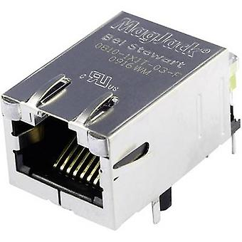MagJack 10/100Base-TX5 verici LED Soket, yatay montaj 10/100Base-TX Pim sayısı: 8P8C Nikel kaplı, Metal BEL Stewart Konnektörleri