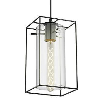 EGLO Loncino luminaire suspendu en acier noir et verre fumé