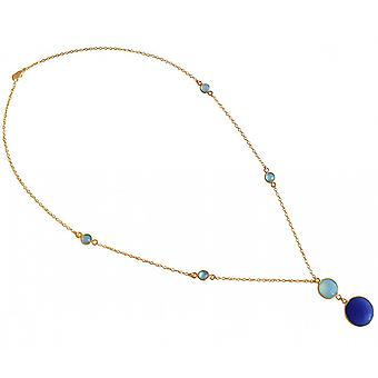 Pendant 925 Silver - gold plated ladies - necklace - 45 cm - chalcedony - sapphire - sea green - blue - faceted-