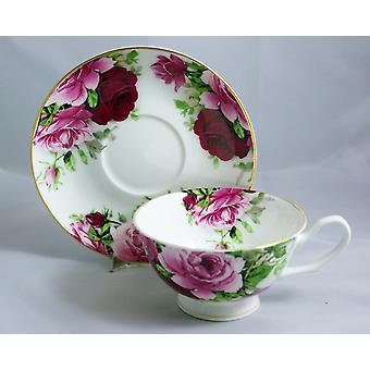 English Bone China Teacup & Saucer Summer Roses