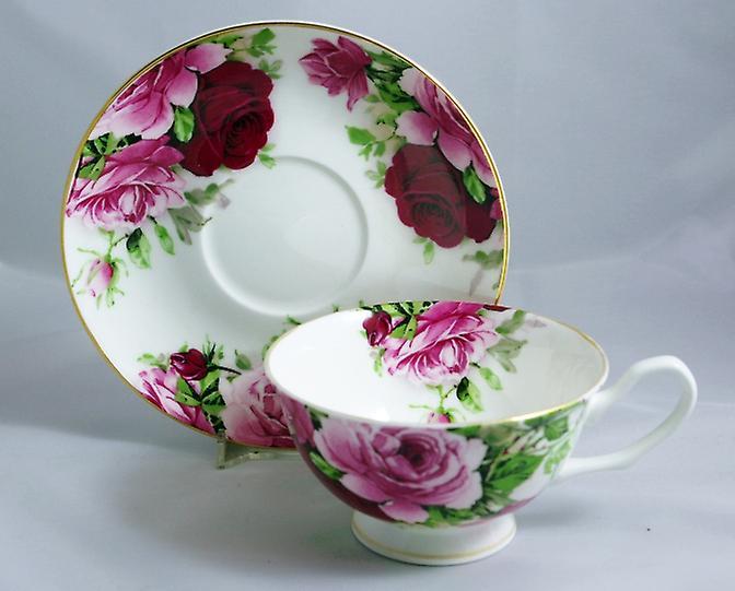 Английский кость Китай чашки & блюдце летом розы