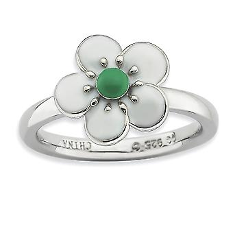 925 Sterling Silver Enamel Polished Rhodium-plated Stackable Expressions Hawthorn Ring - Ring Size: 5 to 10