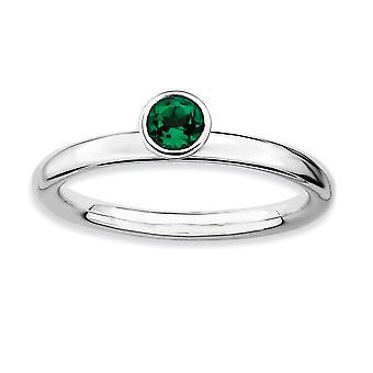 925 Sterling Sølv Ramme Polert Stackable Uttrykk Høy 4mm Round Cr. Smaragd Ring Smykker Gaver til Kvinner - Ring