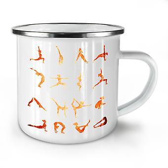 Yoga Positions Asana NEW WhiteTea Coffee Enamel Mug10 oz | Wellcoda