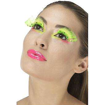 80's Polka Dot Eyelashes, Neon Green, Contains Glue